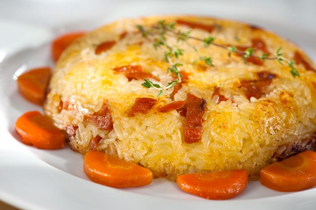 Pastelón de zanahoria, queso y arroz
