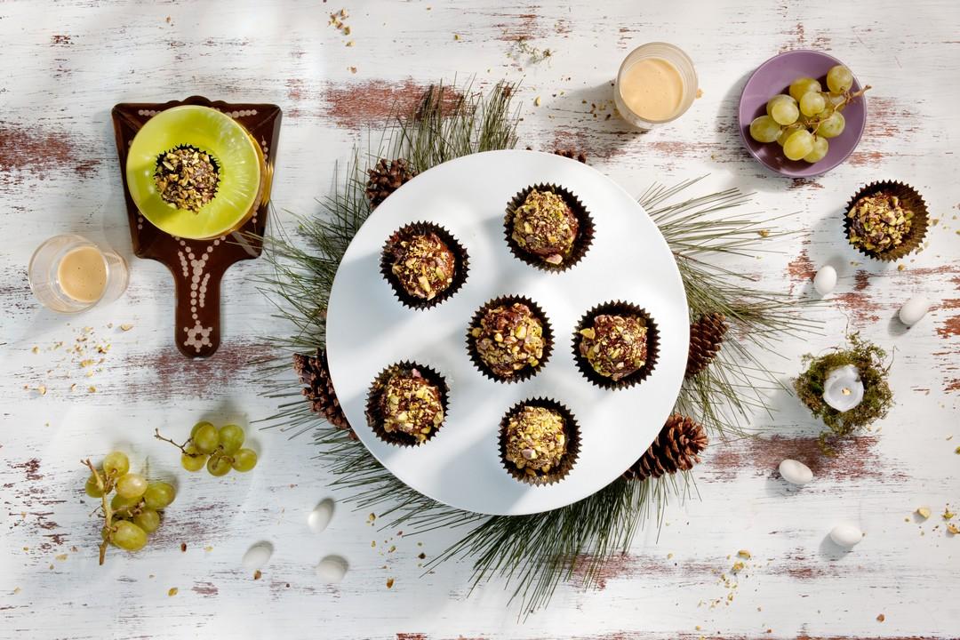 Trufas de chocolate y pistachos